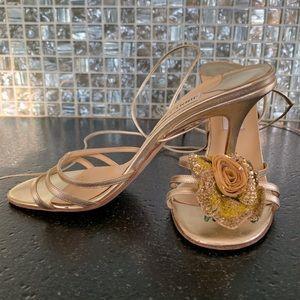 Jimmy Choo gold strappy heels